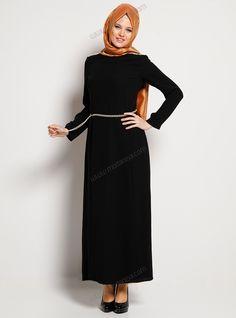 Omzu Pul Apoletli Elbise 41030658 - Siyah - Aker