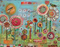 Jardin Floral Birds art by Lori Siebert by LoriSiebertStudio on Etsy