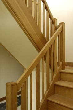 A classic timber staircase with a modern twist. The balusters range in thickness as a design feature, without hindering their support to the staircase.