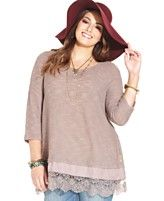 American Rag Plus Size Lace-Hem Top