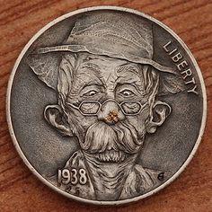 Hand engraving Art by master-engraver Aleksey Saburov. Antique Coins, Old Coins, Rare Coins, Hobo Nickel, Engraving Art, Coin Art, Coin Jewelry, Coin Collecting, Silver Coins