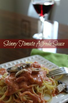 Skinny Tomato Alfredo Sauce Recipe. I love Alfredo Sauce. I love Marinara Sauce. I love Pasta. I made a sauce that had my two favorite sauces in one.