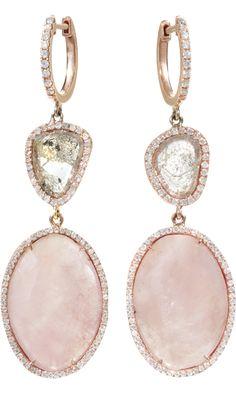 stunning  Monique Péan #Pink Sapphire & Diamond Slice #Earrings