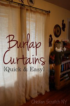 Easy DIY Burlap Curtains {Shut The Front Door!  I love burlap!  What a great idea!!}