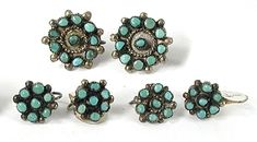 Lot of 4 Pair Screw-back Sterling Silver and Turquoise Cluster Earrings E536 Cluster Earrings, Stud Earrings, Antique Jewelry, Vintage Jewelry, Matrix Color, Native American Earrings, American Indian Jewelry, Screw Back Earrings, Vintage Earrings