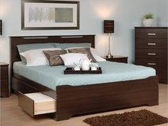 Coal Harbor Storage Bed with Headboard (Espresso)-Love the storage and the simple foot board