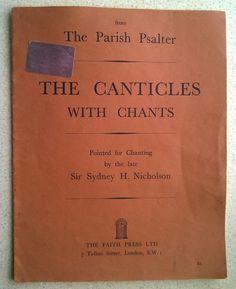 The Parish Psalter with Chants by Sydney H. Nicholson (Hardback, for sale online Vintage Sheet Music, Music Songs, Vintage Antiques, Sydney, Faith, Books, Ebay, Livros, Book
