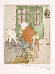 Knitting 1907 Maud H. Squire Born: Cincinnati, Ohio 1873 Died: Vence, France aquatint 6 1/4 x 4 3/4 in. (15.9 x 12.1 cm) Smithsonian American Art Museum Gift of Chicago Society of Etchers 1935.13.305