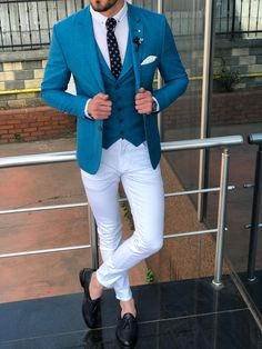 Shop Avra Turquoise Slim-Fit Suit, Aika lycra White Jeans, and Black Tassel Loafers - Vêtements masculins - # Mens Casual Suits, Stylish Mens Outfits, Mens Fashion Suits, Mens Suits, Fashion Menswear, Formal Suits For Men, Trendy Suits, Casual Man, Mens Attire
