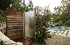 douche de jardin en bois