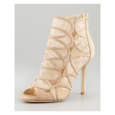 Fonda Lace-Suede Peep-Toe Bootie, Nude by Jimmy Choo at Bergdorf Goodman. Women's Shoes, Me Too Shoes, Caged Sandals, Suede Sandals, Jason Wu, Bridal Shoes, Wedding Shoes, Wedding App, Wedding Ideas