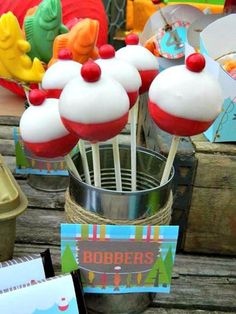 Geschenk Geburt - Fishing bobber cake pops at boy themed gone fishing party retirement fishing par. Gone Fishing Party, Gone Fishing Cake, Joint Birthday Parties, Camp Birthday Party, Boy Birthday, Birthday Stuff, Husband Birthday, Cake Birthday, Lake Party