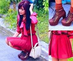 Bow Knot Long Sleeve Blouse, Chiffon Skirt Skirt, Studded Shoulder Bag, Boots