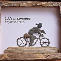 A custom design for an avid cyclist. We love the requests we get from our customers. And the quote is a perfect sentiment for a Monday! Pebble Pictures, Stone Pictures, Sea Crafts, Nature Crafts, Stone Crafts, Rock Crafts, Cuadros Diy, Enjoy The Ride, Inspirational Rocks