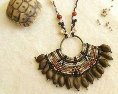 Macrame OOAK indígena inca tribales semilla natural collar de abalorios con cuentas de piedras preciosas de cornalina