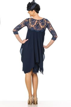Navy crepe and lace dress