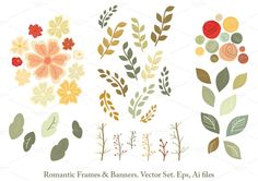 Romantic Frames & Banners Vector Set by Delagrafica on Creative Market