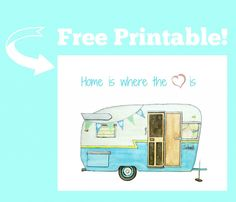 Vintage Camper Printable - from ink and watercolor illustration