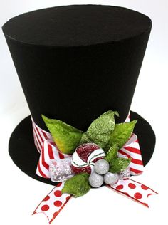 Christmas Hat Candy cane Christmas tree topper by partydreams