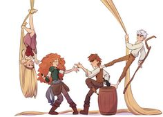 The Big Four - Merida, Rapunzel and Hiccup, Jack Frost Disney Memes, Disney Pixar, Disney Ships, Disney Fan Art, Disney And Dreamworks, Jack Frost, Cartoon Crossovers, Disney Crossovers, Disney Dream