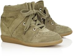 Isabel Marant Étoile Taupe Suede Bobby Wedge Sneakers