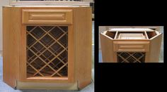 A base corner angle cabinet has been modified to create a unique wine rack...