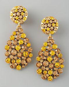 Crystal Teardrop Earrings, Yellow by Oscar de la Renta at Neiman Marcus.