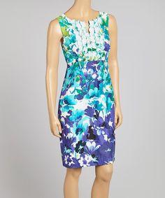 Love this Purple & Blue Floral Ruffle Sleeveless Dress on #zulily! #zulilyfinds