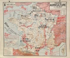 Image of 1960s Agricultural Map of France