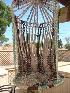 Macrame chair is perfect for etnic and traditional themed house. Hang a pretty macrame chair or hammock on your terrace and enjoy the view! Macrame Hanging Chair, Macrame Chairs, Macrame Art, Macrame Projects, Hanging Chairs, Hanging Baskets, Window Hanging, Yarn Projects, Diy Hammock