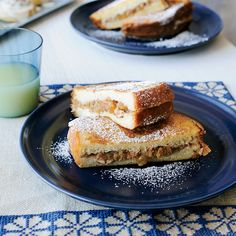 The fruit filling in this fluffy stuffed French toast is reminiscent of a festive apple pie.
