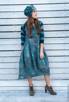 """Купить Платье валяное """"МОРСКАЯ ПРОГУЛКА"""" - морская волна, абстрактный, валяное платье, яркое платье"""