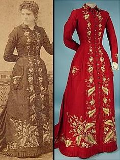 1879 RARE Trained Red Wool Embroidered At Home Robe with Watteau Back and Actual Cabinet Card Photograph of the Original Owner!