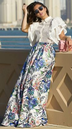 #summer #feminine #style  #outfitideas   White + Floral