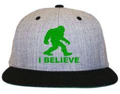 d2269d84bf2 I Believe Bigfoot Sasquatch Flat Bill Snapback Hat Cap Flat Bill Hats