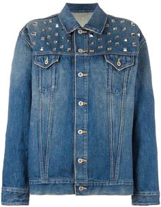 Designer Clothes, Shoes & Bags for Women Studded Denim Jacket, Junya Watanabe, Jackets For Women, Outerwear Jackets, Stylish, Blue Denim, Shopping, Collection, Polyvore