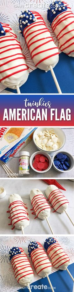 These No Bake American Flag Treats on a Stick are the perfect addition to a 4th of July BBQ!  via @CraftCreatCook1