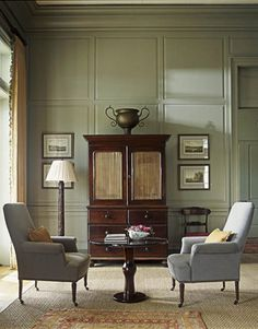 best classic interior home design: Soft gray-green living room Green Paint Colors, Best Paint Colors, Room Colors, Wall Colors, Classic Interior, Home Interior, Interior Design, Modern Interior, Interior Decorating