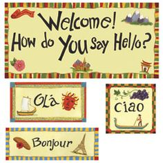 how to say hello in numerous languages, put on the front door of the classroom