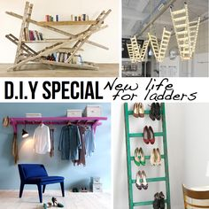 Ladder DIY special ; lots of ideas to use ladders to change your home. Use as shoe storage or clothes hanger!