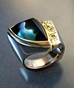 Tourmaline Ring with Mokume Gane