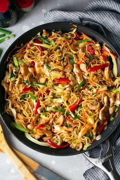 This Chicken Yakisoba is sure to satisfy those Asian food cravings! It's a delicious Japanese noodle dish that's packed with chicken and veggies and tossed with a simple, flavorful sauce. Asian Cooking, Cooking Tips, Cooking Recipes, Cooking Food, Japanese Noodle Dish, Japanese Food, Chicken Yakisoba, Vegan Recipes, Healthy Recipes