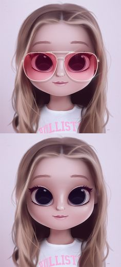 Cartoon, Portrait, Digital Art, Digital Drawing, Digital Painting, Character Design, Drawing, Big Eyes, Cute, Illustration, Art, Girl, Doll, Hair, Long Hair, Glasses, Red Glasses, Pink, Hollister