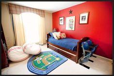 Boys baseball bedroom-love the stadium seats!