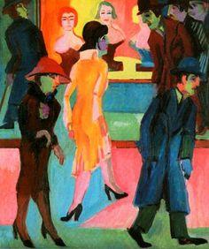1926 Ernst Ludwig Kirchner (German Expressionist, 1880-1938) Street Scene in front of a Barbershop