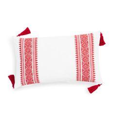 Fodera bianca/rossa in cotone con pompon per cuscino 30 x 50 cm BLOMMA