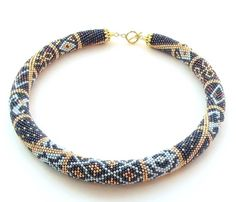 Moroccan style. This Bead Crochet Necklace is made of Japanese seed beads
