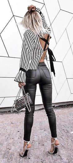 casual sensual style \ backless stripped shirt   high-waist leather pants