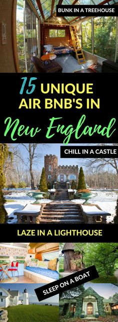 New England has so many incredible AirBnb properties! Want to stay in a treehouse, tiny house, or even a castle? From the romantic to the quirky, New England vacation rentals don't get much better than these. Vacation rentals Vermont New Hampshire Massachussetts Maine Rhode Island Connecticut #newenglandtravel