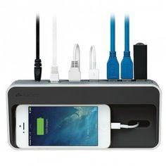 Cool Desk Gadgets: Kanex simpleDock SuperSpeed USB Hub, Gigabit Ethernet and Charging Station Cool Desk Gadgets, Tech Gadgets, Usb Hub, Ipod, Macbook, Hide Cables, Iphone Charger, Desktop Organization, Docking Station
